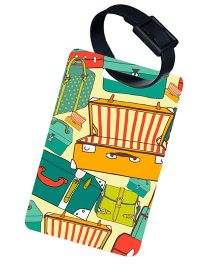 The Crazy Me Vintage Suitcase Printed Luggage Tag - Green