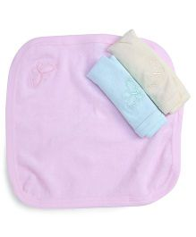 Simply Hand & Face Towels Butterfly Print - Pink Light Yellow & Light Blue