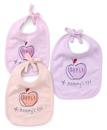 Simply Tie Know Bibs Apple Print Pack Of 3 - Pink Purple Peach