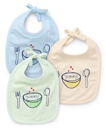 Simply Tie Know Bibs Printed Pack Of 3 - Blue Cream Green