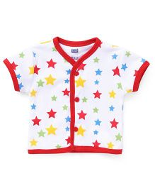 Simply Half Sleeves Front Open Vest Star Print - White And Red
