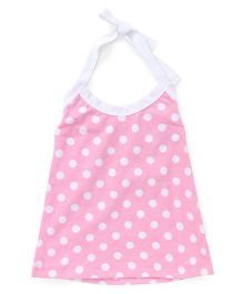Simply Halter Neck Frock With Polka Dots - Pink