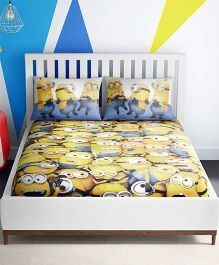 Spaces Minions Printed Cotton Kids Double Bed Sheet With 2 Pillow Cover - Yellow