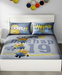 Spaces Minions Printed Cotton Kids Double Bed Sheet With 2 Pillow Cover - Blue