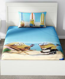 Spaces Minions Printed Cotton Kids Single Bed Sheet With 1 Pillow Cover - Blue