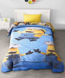 SPACES Minions Printed Cotton Kids Single Bed Comforter - Blue