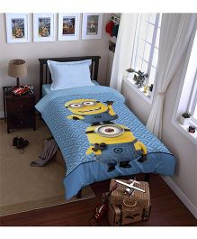 SPACES Minions Printed Cotton Kids Single Bed Dohar - Blue
