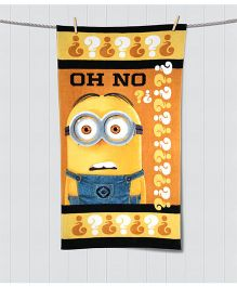Spaces Minions Print Kids Cotton Bath Towel - Orange