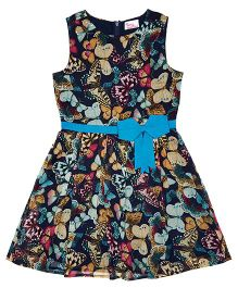 Teeny Tantrums Butterfly Print Dress With Bow Applique - Multicolor