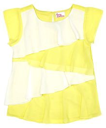 Teeny Tantrums Asymmetric Frill Cap Sleeve Top - Yellow & White