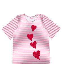 Teeny Tantrums Heart Shape Sequence T-Shirt - White & Pink