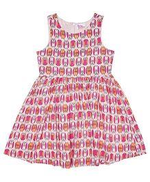 Teeny Tantrums Semi Flare Owl Print Dress - Pink