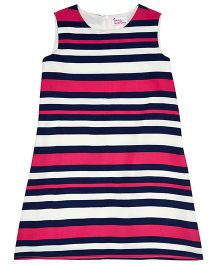 Teeny Tantrums Horizontal Stripe Shift Dress - Blue White & Pink