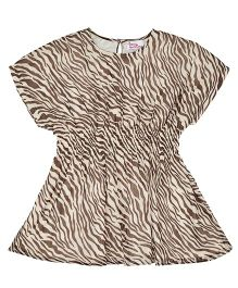 Teeny Tantrums Tiger Printed Short Dress - Brown & White