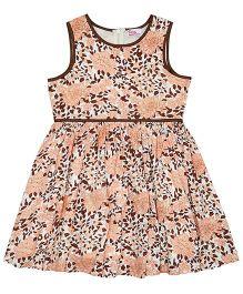 Teeny Tantrums Floral & Leaf Printed Pleated Dress - Brown