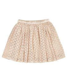 Teeny Tantrums Cut Work Lace Skirt - Beige