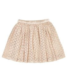 Teeny Tantrums Cut Work Lace Skirt - Beige