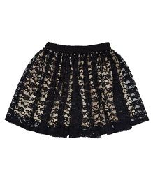 Teeny Tantrums Cut Work Lace Skirt - Black & Beige