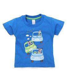 Pink Rabbit Half Sleeves T-Shirt Printed - Royal Blue
