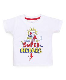 Pink Rabbit Half Sleeves T-Shirt Super Heroes Print - White