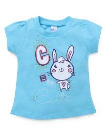 Pink Rabbit Short Sleeves Tee Printed - Blue