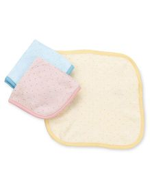 Pink Rabbit Hand & Face Towels - Yellow Pink Blue