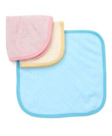 Pink Rabbit Hand & Face Towels Clothes Pack Of 3 - Orange Aqua Yellow