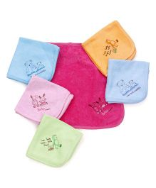 Pink Rabbit Hand & Face Towels - Green & Multi Color