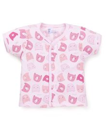 Pink Rabbit Half Sleeves Vest Kitty Print - Light Pink