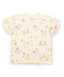 Pink Rabbit Half Sleeves Vest Cartoon Print - Yellow