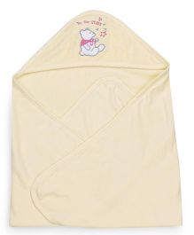 Pink Rabbit Hooded Wrapper With Teddy Patch - Yellow