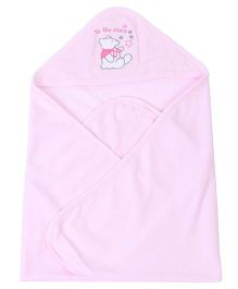 Pink Rabbit Hooded Wrapper With Teddy Patch - Pink