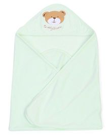 Pink Rabbit Hooded Wrapper With Teddy Face Patch - Green