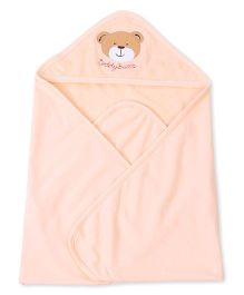 Pink Rabbit Hooded Wrapper With Teddy Face Patch - Orange