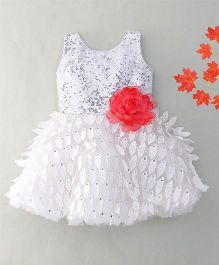 Adores Flare Dress With Flower Bow Applique - White