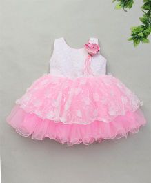 Adores Dress With Bow Applique - Pink & White