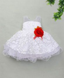 Adores Layered Dress With Flower Bow Applique - White
