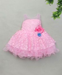Adores Layered Dress With Flower Bow Applique - Pink