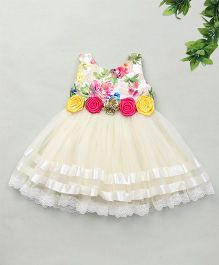Adores Semi Floral Over Dress - Off White