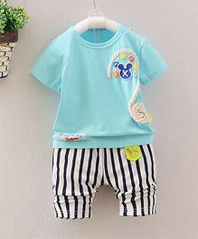 Pre Order - Dells World Button & Rope Applique Tee With Hoizontal Stripe Pants - Blue