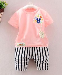 Pre Order - Dells World Button & Rope Applique Tee With Hoizontal Stripe Pants - Light Pink