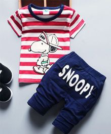 Dells World Character Printed Stripes Tee With Pants - Red & Blue
