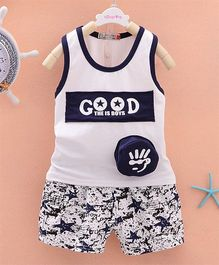 Pre Order - Dells World 3D Applique Tee With Star Printed Pants - Blue & White