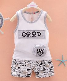 Pre Order - Dells World 3D Applique Tee With Star Printed Pants - Grey & White