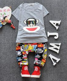 Pre Order - Dells World Monkey Printed Tee With Multi Printed Pants - Grey & Multicolour