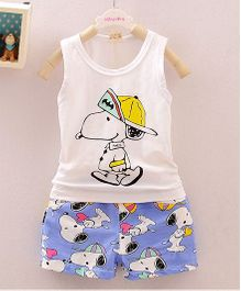 Dells World Character Printed Tee & Pants - Blue & White