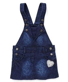 Olio Kids Denim Dungaree With Print - Dark Blue