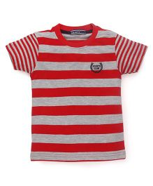 Smarty Half Sleeves Striped T-Shirt - Red