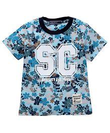 Smarty Half Sleeves T-Shirt Leaf Print - Sky Blue