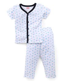 Babyhug Half Sleeves Night Suit Stars Print - White Blue